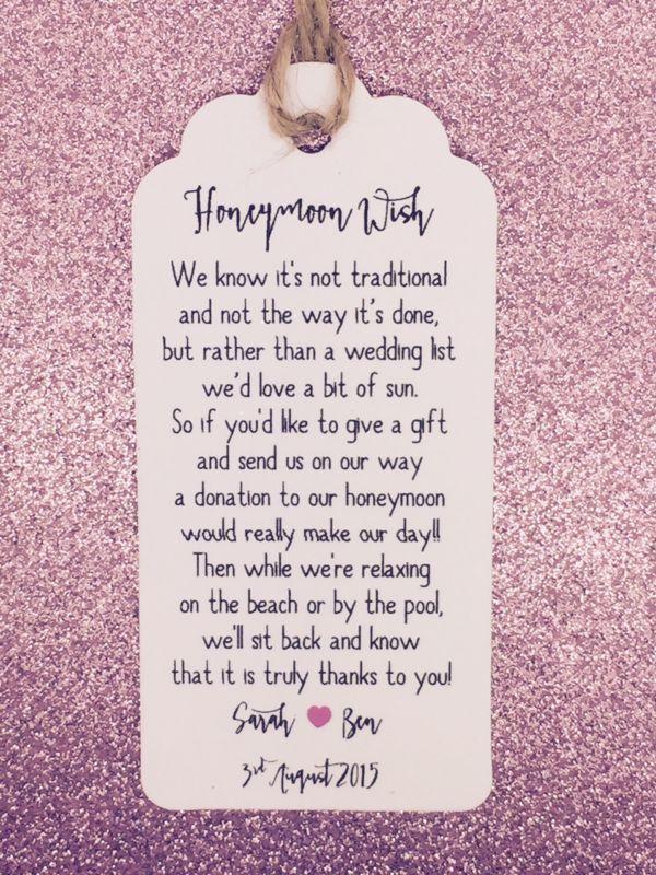 Wedding Honeymoon Fund Money Request Poem Card, Favour