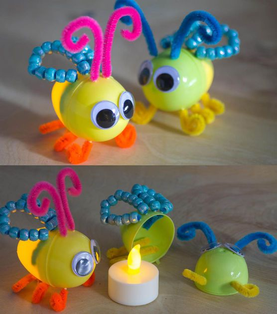 Make your own fireflies with plastic eggs, pipe cleaners, beads, googly eyes, and battery-powered tea lights. These are adorable! #insects