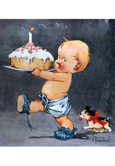 Bebê Com # 1 cartão de bolo de Saudações |  Elefante de riso ... Happy Birthday: