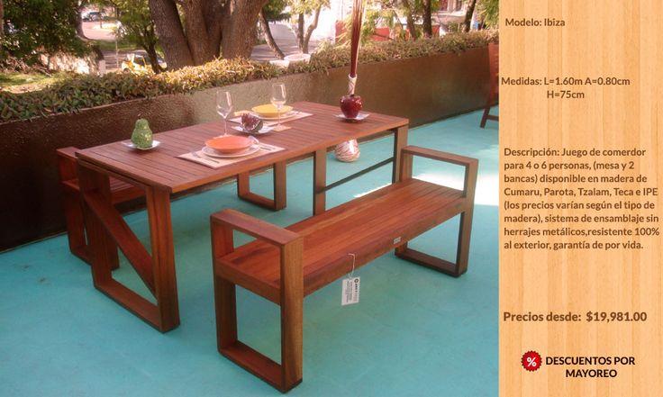 Muebles para exterior jardín de madera teca Guadalajara, México