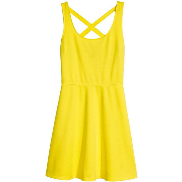 H&M Jersey dress (€4,77) ❤ liked on Polyvore featuring dresses, h&m, vestidos, yellow, jersey skater skirt, h&m dresses, yellow skater skirt, knee length circle skirt and flared skirt