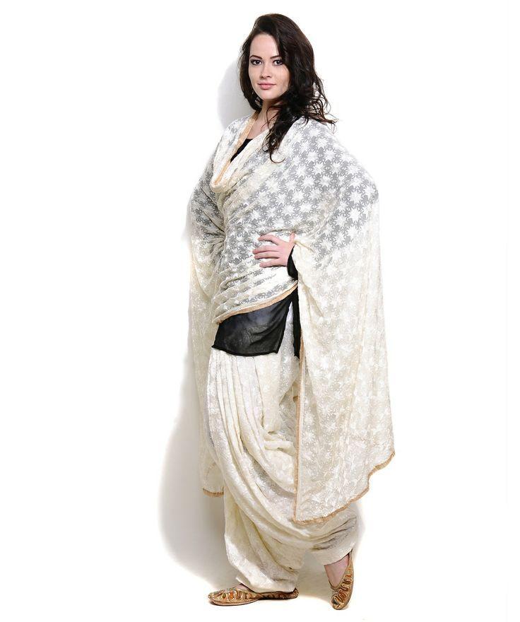 how to wear punjabi suit dupatta