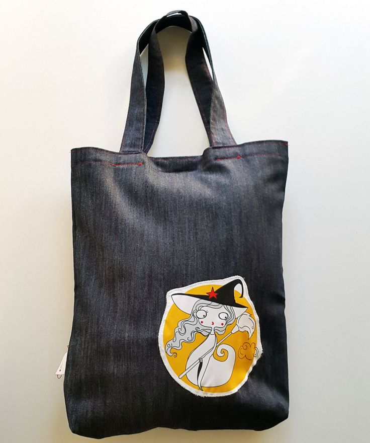 TOTE BAG | Witch Tote Bag  | Customized Bag | Denim ToteBag | Exclusive product from Barcelona | Handmade Bag by KoCcos on Etsy