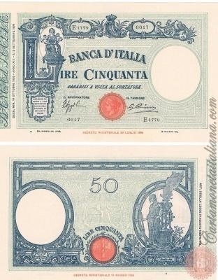 Cartamoneta Italiana .com - Museo Virtuale - : Banca d'Italia – Regno d'Italia - Foto: 50 LIRE - Barbetti - modificato - con matrice (fascio) - N 4