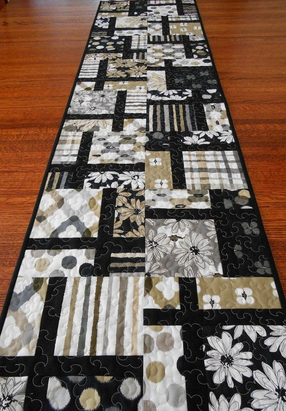 Modern Table Runner in Black Tan and Gray Quilted by susiquilts