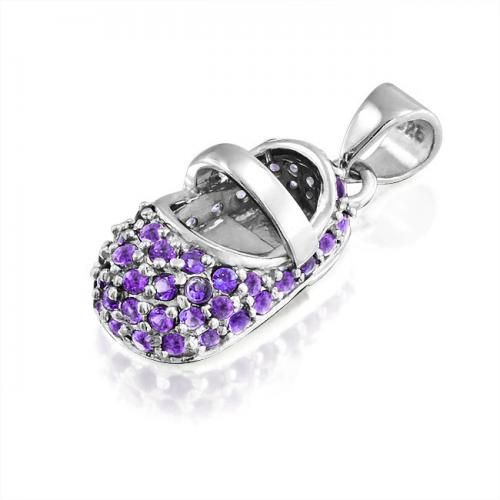 Bling Jewelry Silver Baby Shoe Charm February Birthstone CZ Amethyst Color