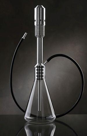 Deco hookah -- 1 part Erlenmeyer flask, 3 parts tire pump.