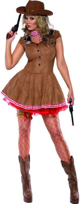 Disfraz de vaquera sexy para mujer: Este disfraz de vaquera para mujer se compone de un vestido corto, un broche y un pañuelo a cuadros blancos y rojos. El vestido es corto, ceñido, de imitación de ante y con falsa...