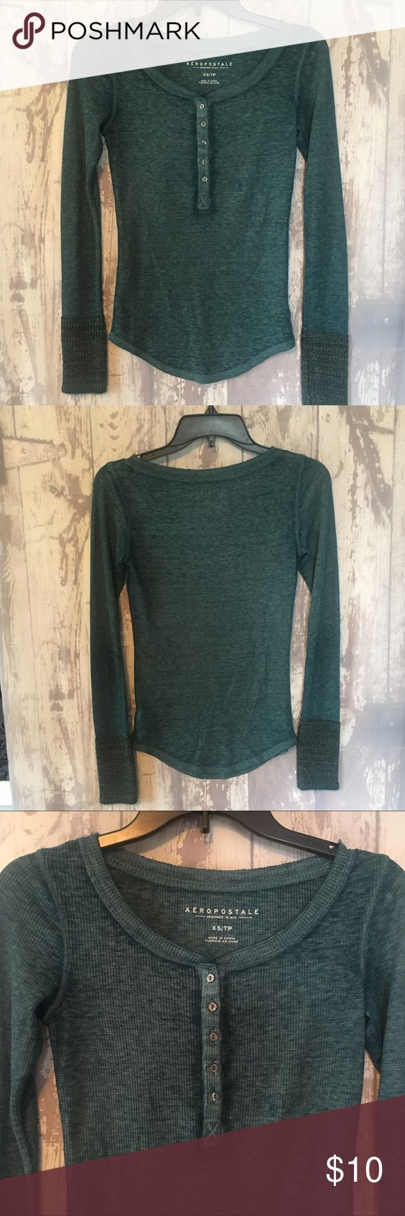 Aeropostale Long Sleeve Henley Top Aeropostale long sleeve Henley style top with sweater-Knit cuff. Excellent condition. Color: Teal. Size XS. Aeropostale Tops Tees - Long Sleeve