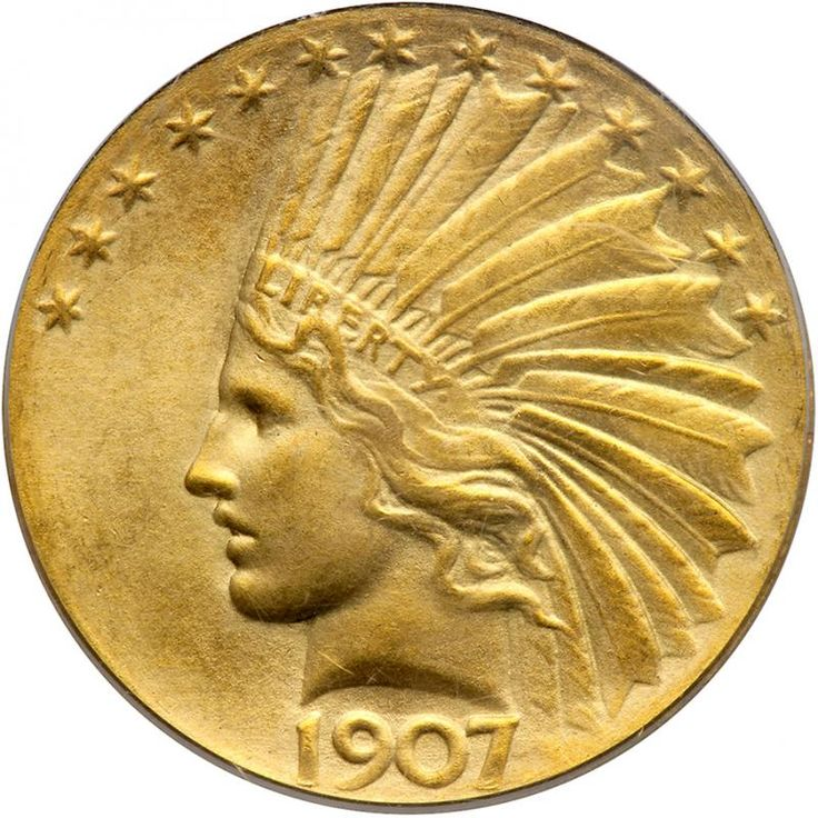 """1907 $10 Indian. Wire rim, periods. PCGS MS65 A hint of golden toning. A very popular key date. Housed in an Old Green Holder. Only 500 struck. Numismatists consider 1907 to be a watershed year in American coinage innovation. Tossed aside as outdated were several middle-of-the-road coin designs that had outlived their purpose. President Theodore """"Teddy"""" Roosevelt, spearheaded the revolution. Wielding his authority, he forced the Mint to bring its coinage design up to twentieth century…"""