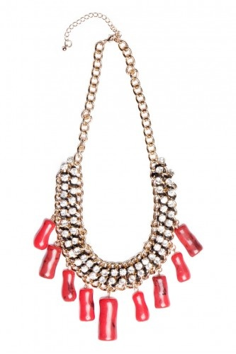 RED STONES GLAMOUR NECKLACE - (X) S.M.L