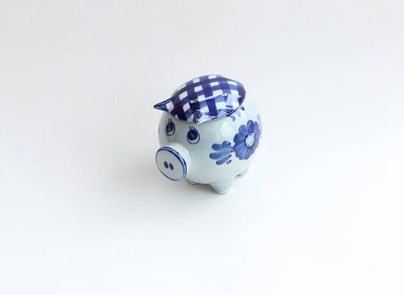 Really cute vintage retro storage ceramic light blue Canister