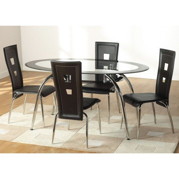 Caravelle Circular Glass Dining Table And 4 Black Dining Chairs