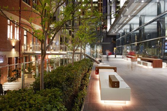 Brookfield Place­ | Perth, Australia | HASSELL #plaza, commercial, landscape, hassell, perth, seat, bench, lighting
