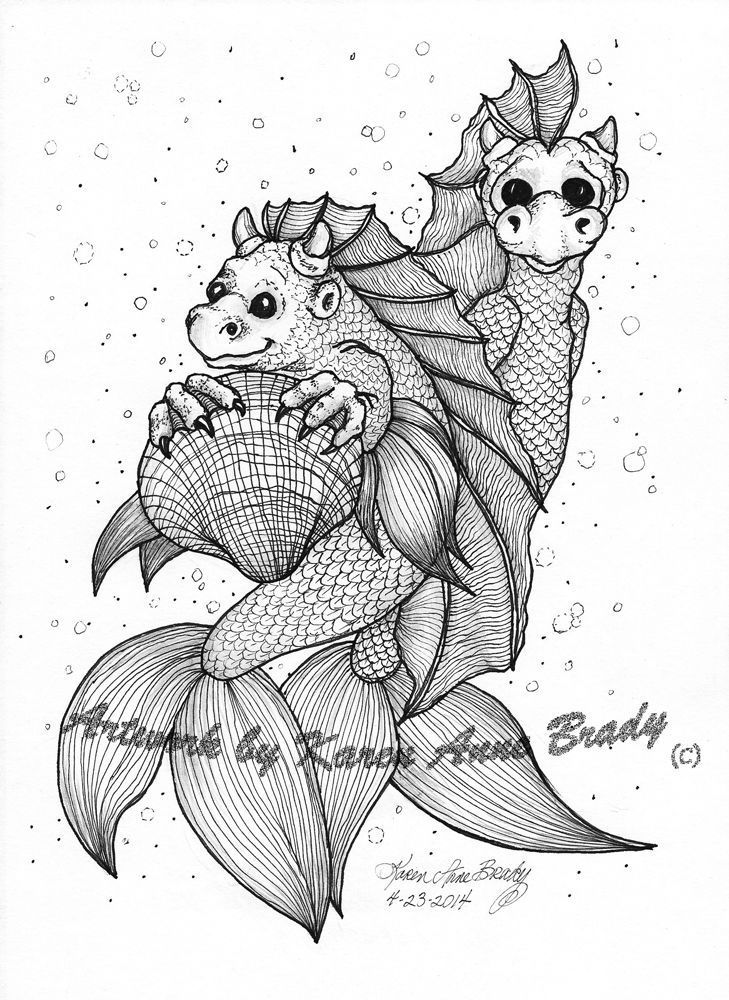 NFAC Original Pen & Graphite Pencil Sea Monster Toddlers Ink Tangle Doodle work
