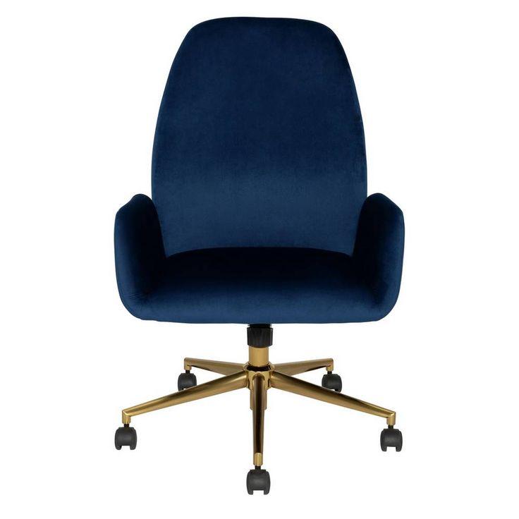 Argos home clarice velvet office chair blue velvet