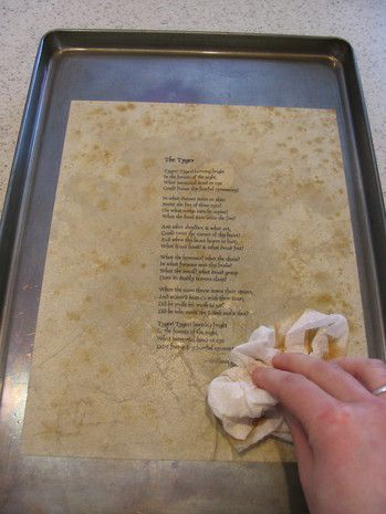 How to Antique Paper:  Ratio of 1 c water to 2 T coffee brewed.  Dry in oven at 200 degrees for 5-8 mins.