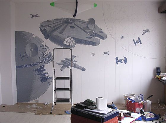 Murales star wars buscar con google cuarto david e for Decoracion de cuarto star wars