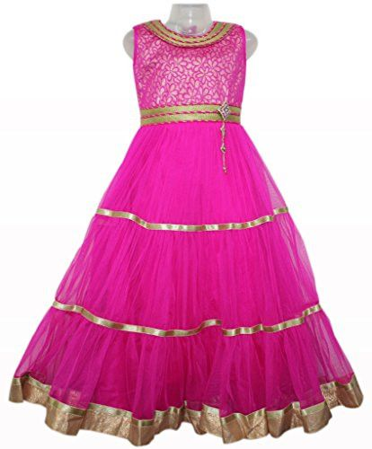 Rani Pink and Gold Colour Girls Party Wear Long Frock, Vasundhara Fashions Indian Clothing