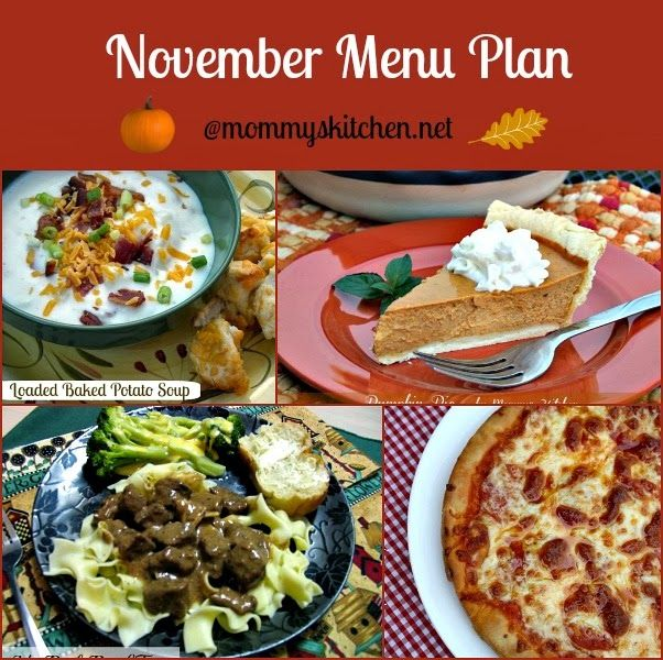 Mommy's Kitchen - Country Cooking & Family Friendly Recipes: November 2013 Menu - Menu Plan Monthly