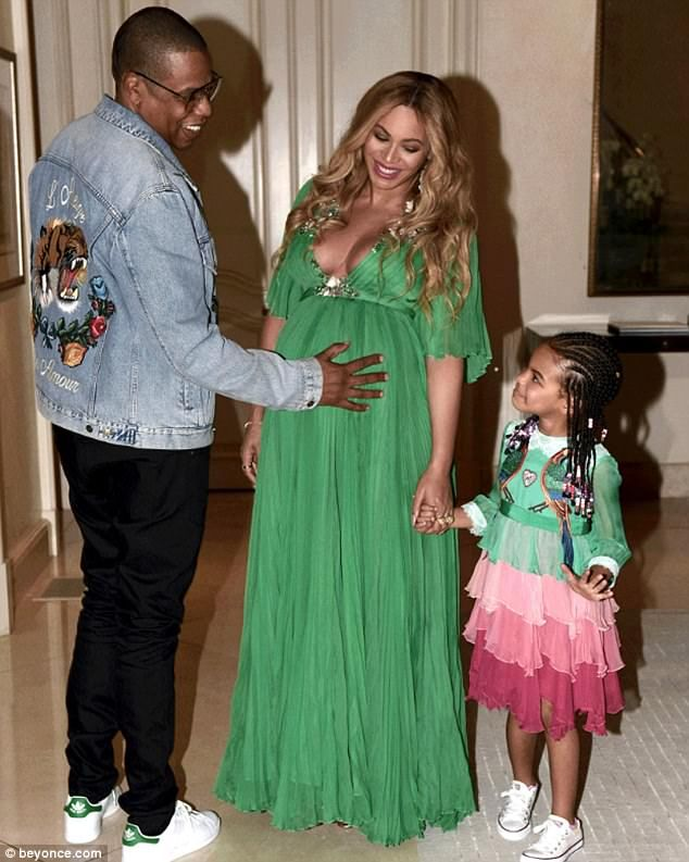 Big sister: Blue Ivy is about to become an older sibling as Beyonce and Jay Z, pictured in...