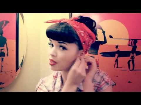 Awesome retro rockabilly bandana hair tutorial.. and their band ain't bad either! I might have a new favorite country favorite!