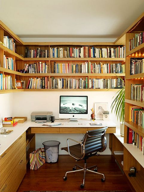"Great idea for a home office that houses a lot of books. Create a visual ""library"" that is decorative too.    http://www.blogtalkradio.com/thedeclutteredhome/2013/01/03/organizing-your-new-year-home-office-with-ronique-gibson    #KBHomes"