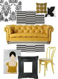 Chesterfield mood board channels mustard, white and black...