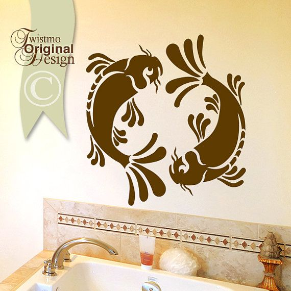 Make a big SPLASH in your bathroom or any room with my energetic Koi fish vinyl wall decal design.    Your Purchase Includes:  Design: Yin Yang Koi Fish