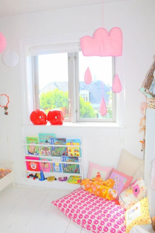 Stylish Twin Girls Bedroom Design In Pink, White and Red Colors | Kidsomania