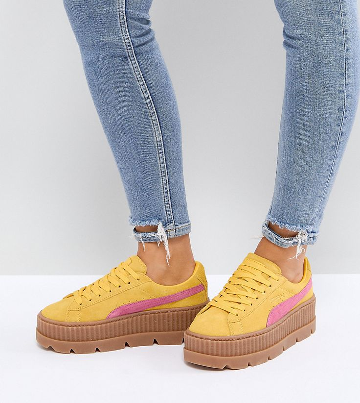 Puma X Fenty Suede Creepers In Yellow & Pink - Yellow
