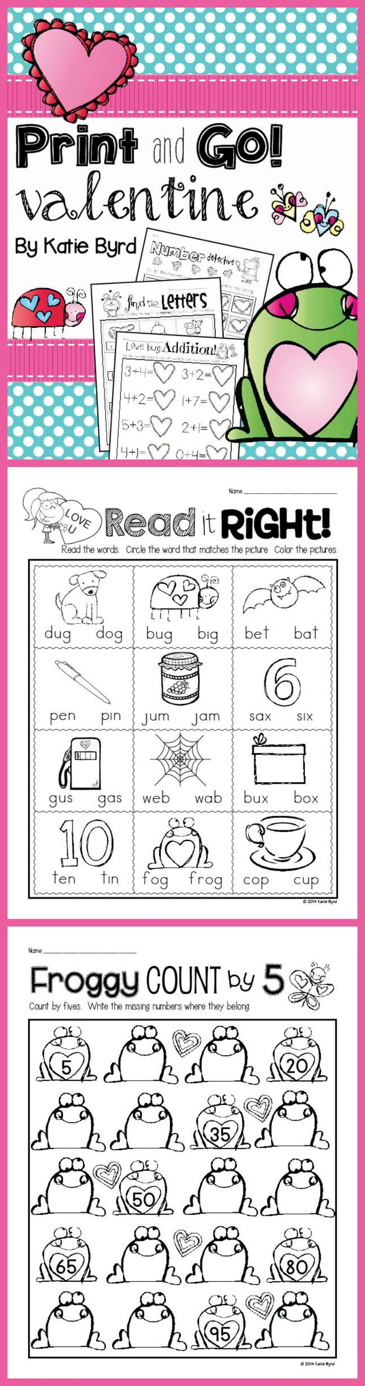 Print and Go! Valentine Math and Literacy (NO PREP) - lots of great practice pages to save your ink and time. Perfect for morning work, homework, or independent centers. Happy Valentine's Day! Happy teaching! $