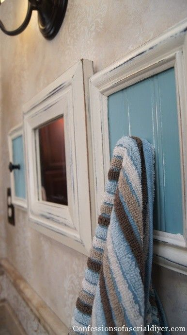 New Life for Outdated Frames~~~Love this look for the bathroom!