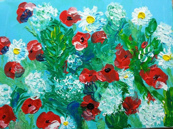 Wilde bloemen paletmes techniek 30x40 acryl