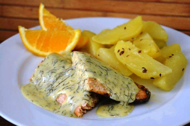 Losos se smetanovo-pomerančovou omáčkou s koprem      Rybu s citronem všichni známe, co ji vyzkoušet s pomerančem a zjemn...