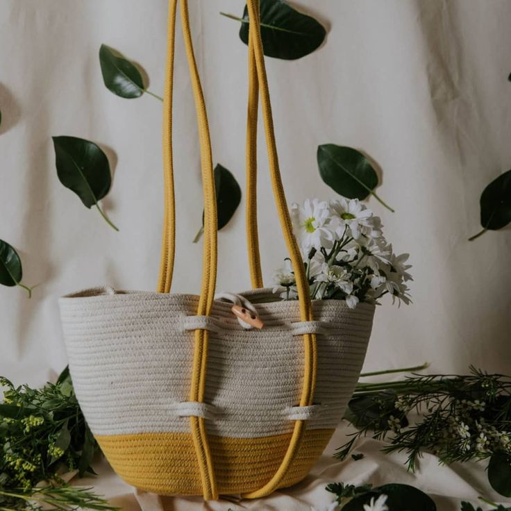 Shopping basket bag made of cotton rope by Palmito Shop. Now on etsy.com