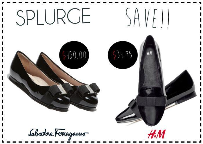 Splurge or Save? #SalvatoreFerragamo vs. #H&M | www.fatfreefashion.com #flats #fashion