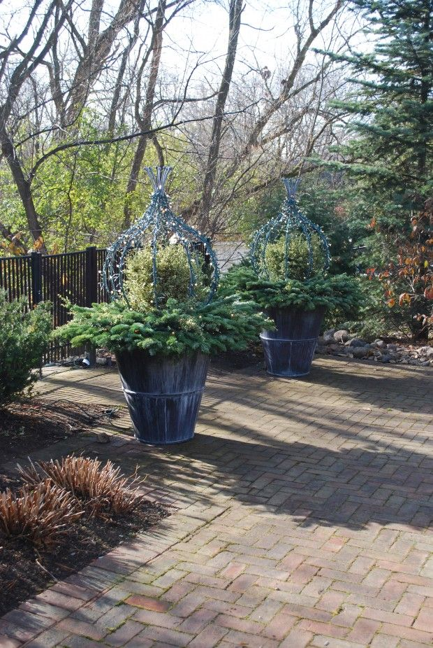 winter containers with lighted topiary formsjpg