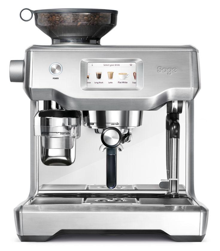 Die Sage Espresso-Maschine Oracle Touch ist eine vollautomatische Siebträgermaschine. Sie automatisiert den gesamten Espresso-Brühvorgang.  Mit einem Klick mahlt und dosiert die Maschine Kaffee. Preinfusion (Vorbrühen) unter geringem Druck ergibt Kaffee von feinster Qualität mit ausgewogenem Geschmack.