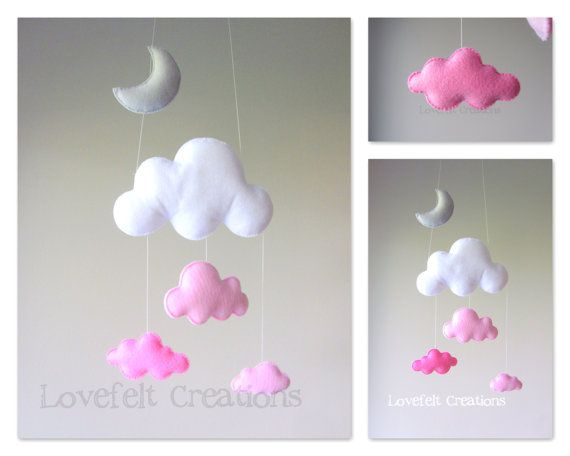 Baby mobile  Cloud mobile  Pink and Gray Mobile by LoveFeltXoXo