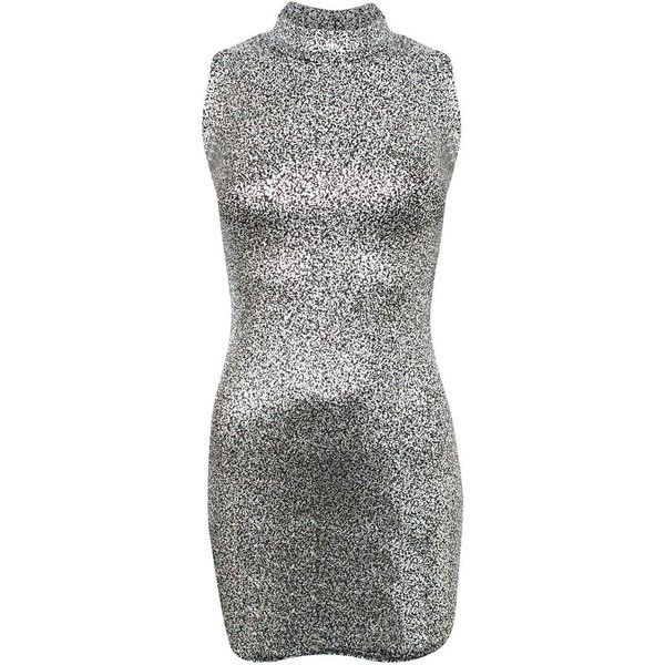 Pilot High Neck Metallic Detail Sleeveless Bodycon Dress ($21) ❤ liked on Polyvore featuring dresses, silver, bodycon dress, pattern dress, sleeveless bodycon dress, body con dress and body conscious dress