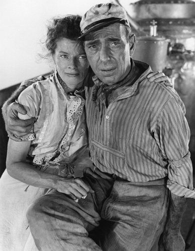 Katherine Hepburn as Rose Sayer and Humphrey Bogart as Charlie Allnut  in The African Queen (1951)