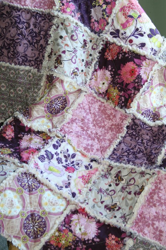 Crib Rag Quilt Baby Girl Crib Bedding Purple Pink Grey ...
