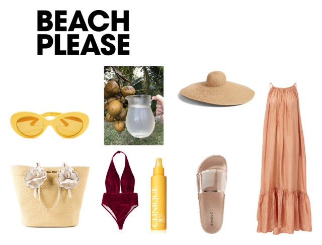 """lets take it back to the beach"" by goitsemooketsi on Polyvore featuring Kalita, Eric Javits, Miu Miu, Clinique, Bamboo, BeachPlease and vacayoutfit"