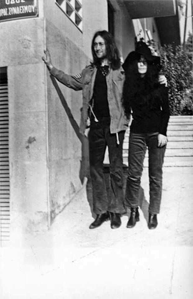 1969 ~ John Lennon and Yoko Ono in Kolonaki, Athens