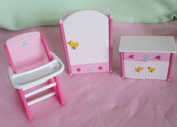 mini baby born puppenhaus m bel wei e sonderedition schrank kommode hochstuhl baby pinterest. Black Bedroom Furniture Sets. Home Design Ideas