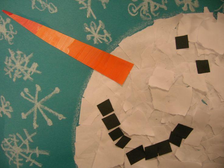 The Snowy Day, Snowmen at Night, & Snow - torn paper snow man -The Elementary Art Room!: Kindergarten