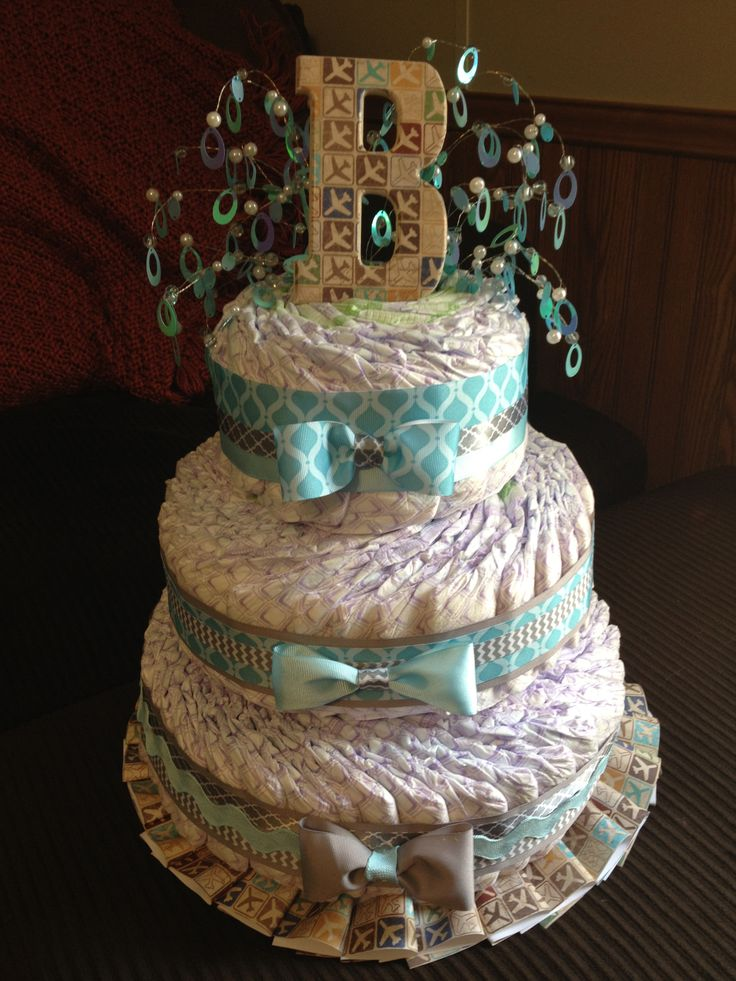 Fanned Diaper Cake For Boy Party Cakes Diaper Cake Boy