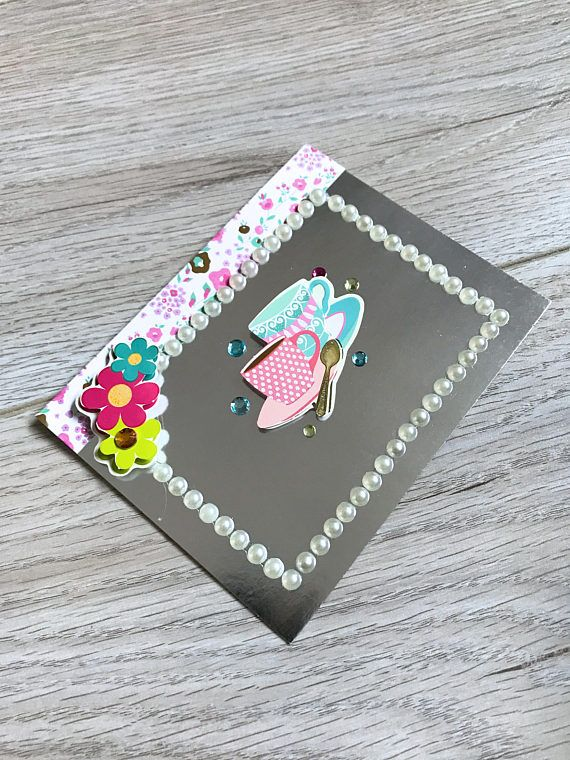Handmade Card // Tea Cup Card // Silver and Pink