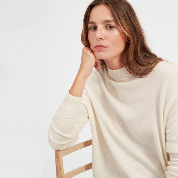 Everlane Women's Cashmere Crop Mockneck Sweater ($100) ❤ liked on Polyvore featuring tops, sweaters, ivory, ivory top, ivory sweater, pure cashmere sweaters, oversized crop top and oversized cashmere sweater